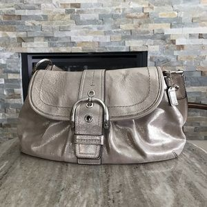 Metallic Leather Coach Purse and Wallet
